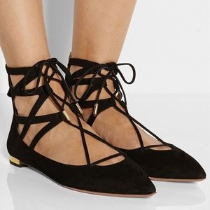 NEW Aquazurra Belgravia lace-up cutout flats